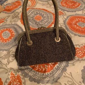 Ann Taylor herringbone and croc purse